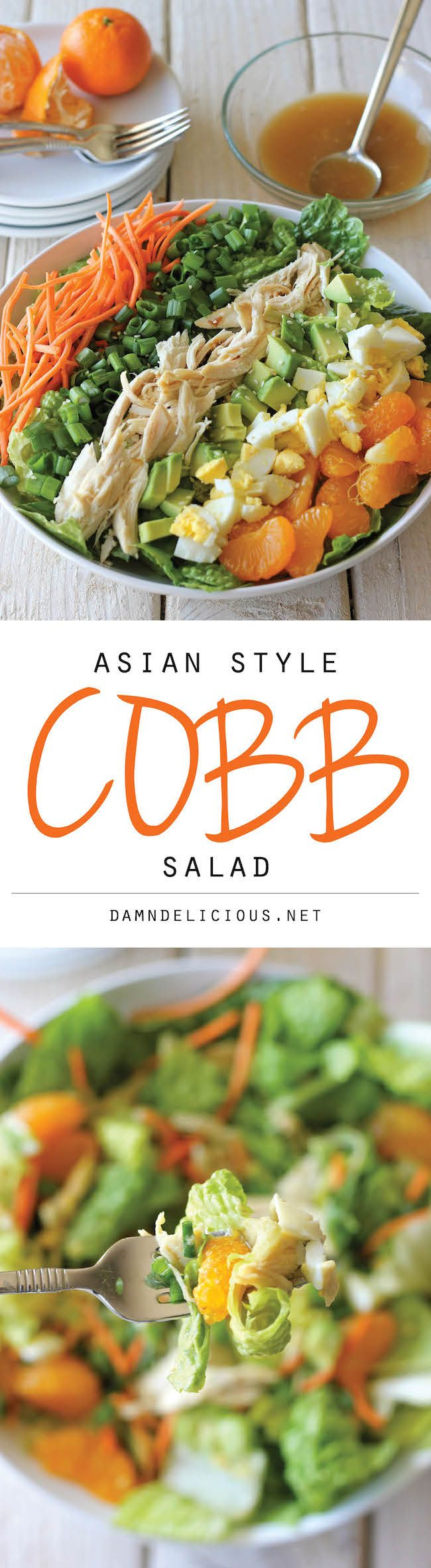 Asian-Style Cobb Salad: if you feel stuffed fuller than the proverbial turkey, this is the antidote! Looks so light and refreshing -- a perfect wintertime salad. Try this with fresh oranges, and use tamari and a little stevia or xylitol in the great sesame vinaigrette. (Good for leftover turkey, too!)