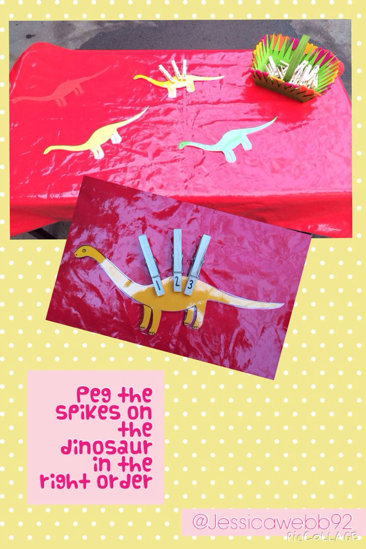 Peg the dinosaur's spikes on in the correct order. EYFS
