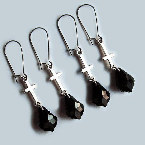Cross Earrings with Black Glass Crystal Drop, Gothic Earrings, Baroque pendants, Inverted Cross Earrings, Gothic Elegant