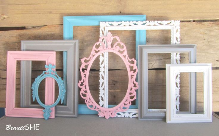 Pink Aqua Blue Grey White Frame Set Custom Frames Open or Frames with GLASS Baby Girl Nursery You Choose Frame Collection Gray Pink White by BeautiSHE on Etsy https://www.etsy.com/listing/216289221/pink-aqua-blue-grey-white-frame-set