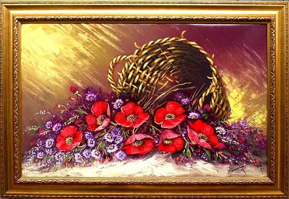Decorative oil painting on canvas  Overturned poppies basket