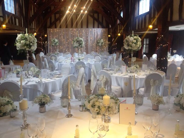 Tithe Barn At Great A Fosters Hotel Surrey All Set For The Evening Reception Looks Beautiful Wedding VenuesSurreyTo