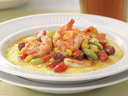 """Shrimp and Grits with Succotash 