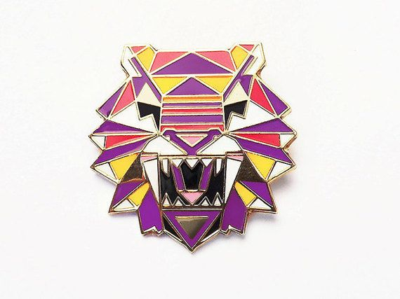 Geometric Tiger Brooch Pin Badge Enamel