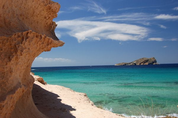 Cala Comte - Most beautiful beach on the island in my opinion; great views, extremely blue water and some shade from the kliffs. Also the location of beach club Sunset Ashram - one of the best spots on Ibiza to watch the sunset.