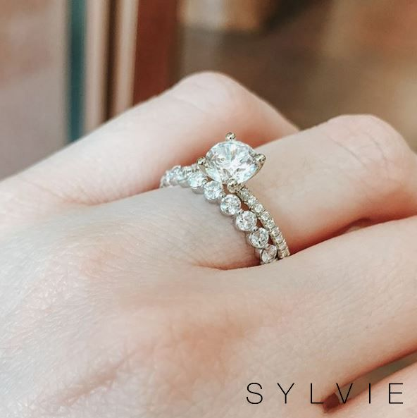 Solitaire Engagement Ring Stackable Band Set S1093 B1p15 Sylvie Thick Diamond Wedding Band Dream Engagement Rings Moissanite Engagement Ring Solitaire