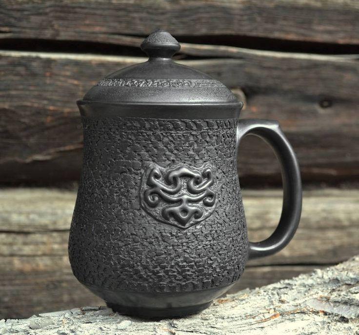 Сeramic mug with lid   Black mug   Black drinkware   Glossed mug   Mug for brewing   Mug with lid   Pottery mug   Textured mug   Mug for tea by ArtPotteryBaiTerek on Etsy