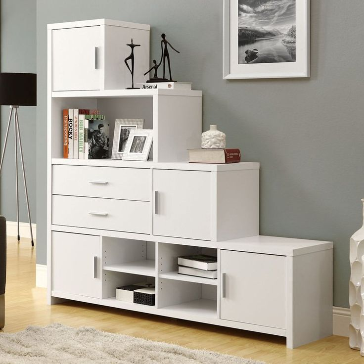 Monarch Hollow-Core Left or Right Facing Step Bookcase - White |  www.bookcasesgalore - 125 Best Stair Ideas Images On Pinterest