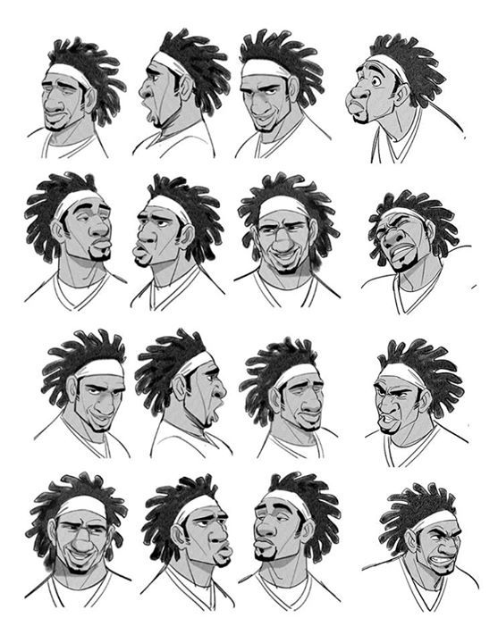 Character Head References by Jin Kim: Flynn Rider The Boondocks Honey Lemon GoGo (Left) Professor Robert Callaghan, (Right) Wasabi