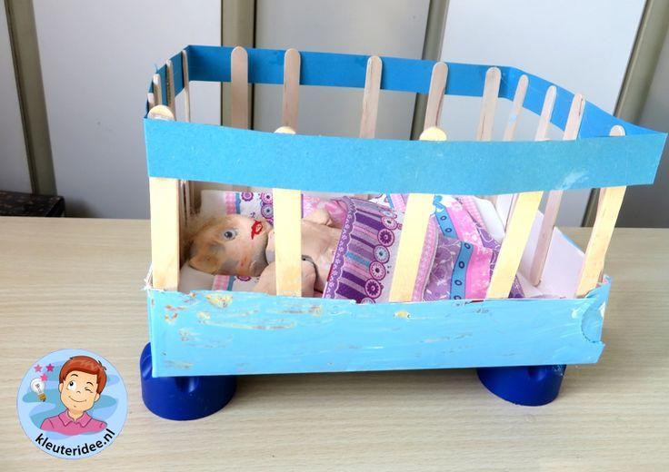 Ledikantjes knutselen 3, thema baby, kleuteridee.nl, Kindergarten baby bed craft