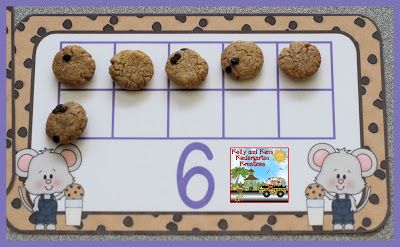 Ten frames with Cookie Crisp cereal...very motivating for our children! (If You Take a Mouse to School & If You Give a Mouse a Cookie)