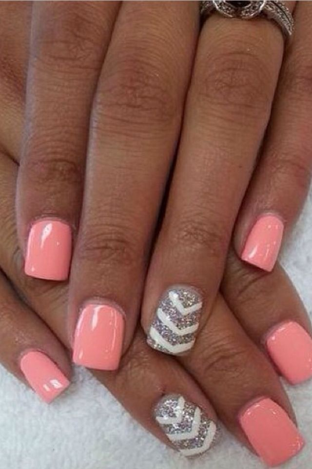 pink and chevron with silver glitter