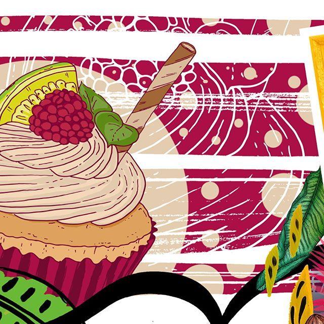 Fazendo cupcake #sqn #draw #drawing #art #handmade #desenho #print #illustration #estampa #instaart #decor #surfacedesign #pattern #patterns #estampas #colorpalette #color #cupcake #cooking
