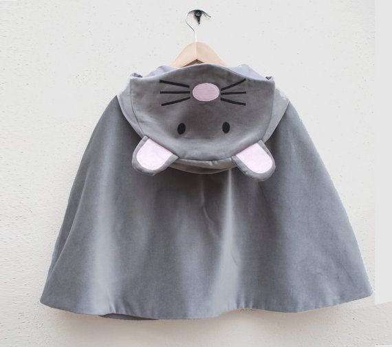 Mouse cape dress up jacket in grey velvet #baby #mouse #cap