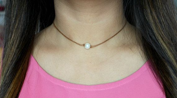 Leather Pearl Choker Necklace  Single Pearl Choker  by GlamDiaries