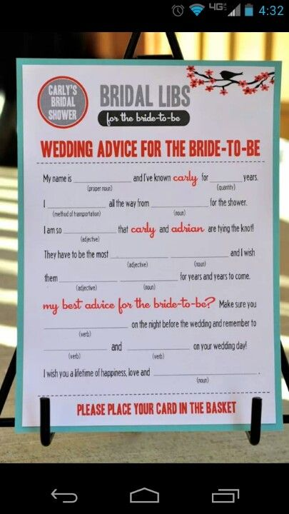 Instead of for the bride to be, advice for the happy couple template on Bridal libs!