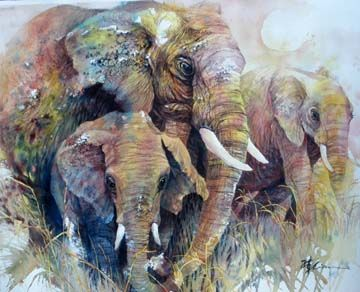 """Elephants"" by Lian Quan Zhen (watercolor)"