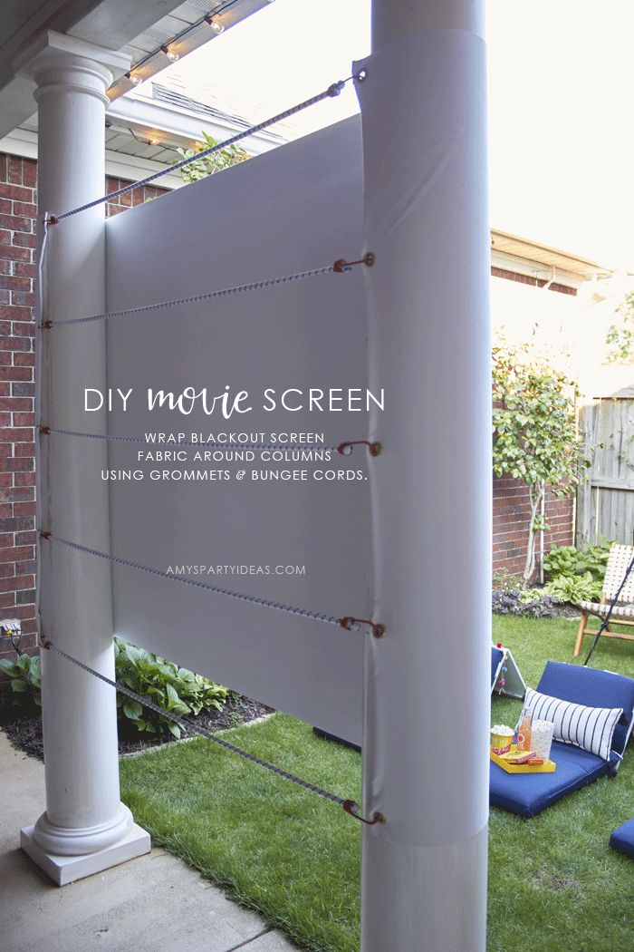 DIY Outdoor Family Movie Night | DIY Movie Screen | DIY Movie Seats | World Market Outdoor Family Movie Night from AmysPartyIdeas.com |