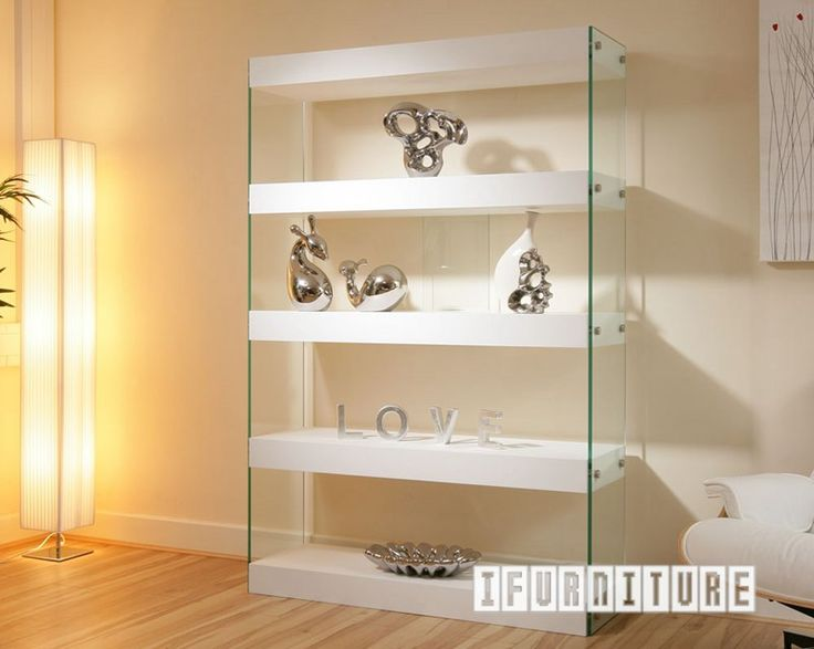 Display Cabinet Shelving White Gloss Gl Modern New Parker It Features Four Thick Shelves And End Panels Has Wonderful German Build Quality
