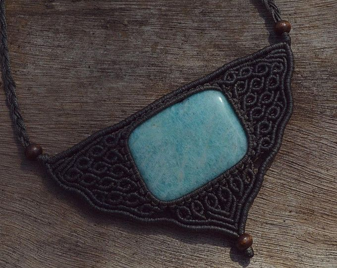 Macrame neclace with amazonite square stone, light brown waxed cord and wooden beads