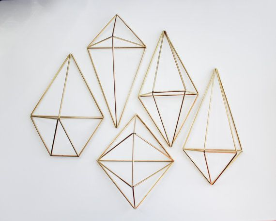 The Wall Sconce Collection   5 Brass Air Plant Holders, Modern Minimalist Geometric Ornament