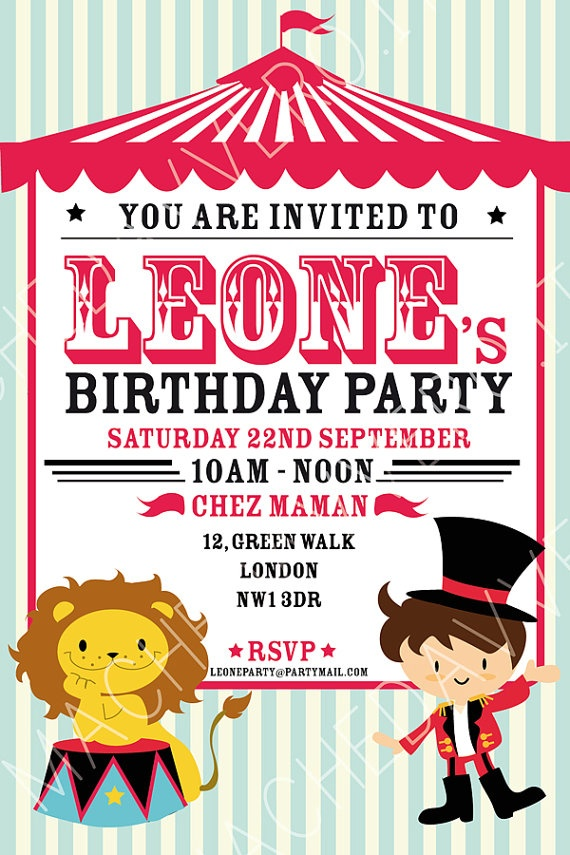 Circus Party Invitation - perfect for kids birthdays