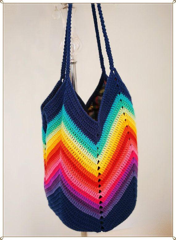 07faa571bef8 Crochet Bag, Chevron bag, Shoulder Bag, Tote Bag, Rainbow Bag, Summer Bag,  Gift for Her, Retro Style, Vintage Style, Hippie Style, Gift | crochet |  Crochet ...