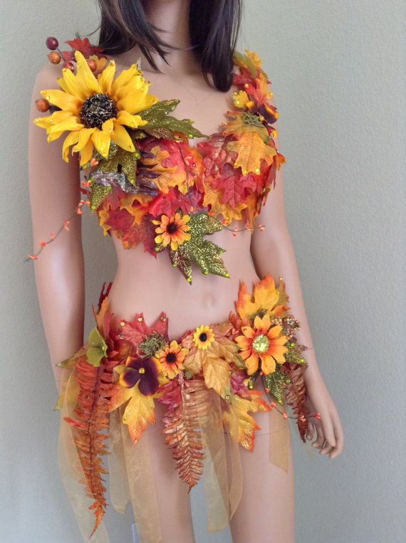 Autumn Fall Sunflower Fairy with Floral Crown 34B/32C ~Halloween Costume