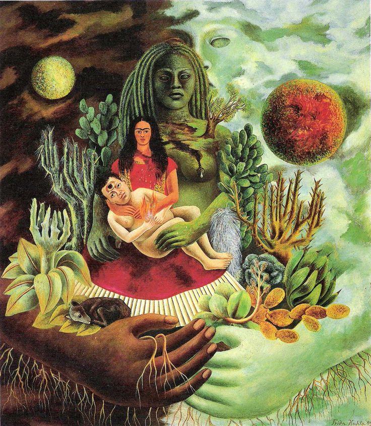 """Las pinturas de Frida son representaciones de su propia vida y de sus emociones: """"Me pinto a mí misma porque soy a quien mejor conozco""""."""