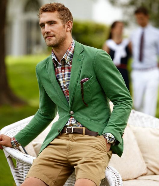 Men's fashion. Men's Style...bright green blazer, plaid shirt and khaki shorts