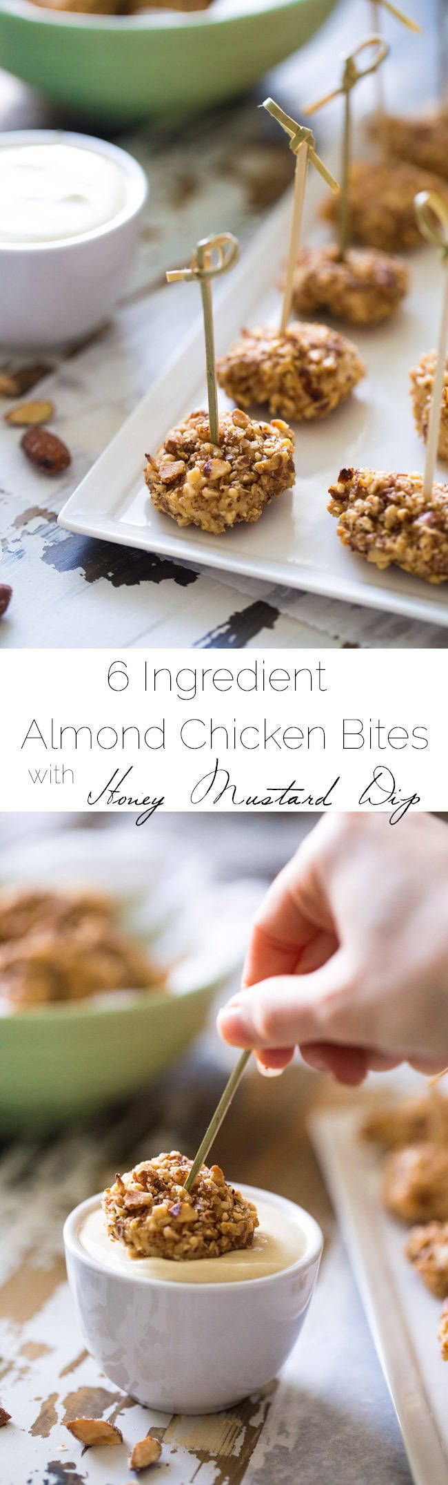 6 Ingredient Almond Chicken Bites with Honey Mustard Dip - SO easy, crunchy and healthy! Using Greek Yogurt in the dip makes this a healthy appetizer! | Foodfaithfitness.com | #recipe