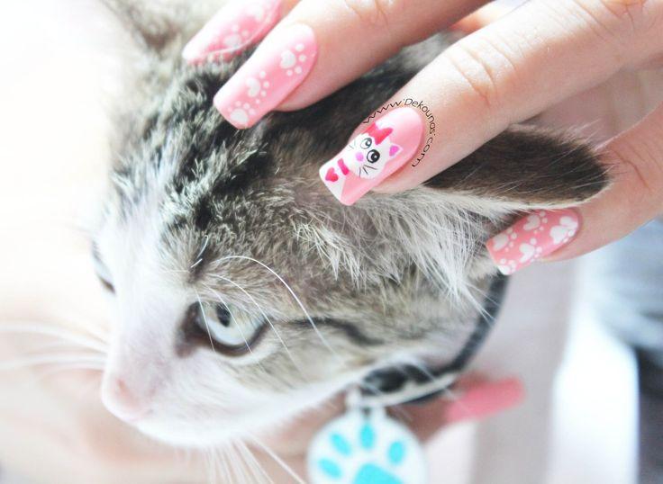 Decoración de uñas gata #nails