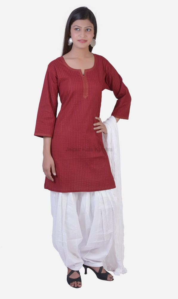Patiala Salwar Wth Kameez Kurti Maroon Indian Combo Ethnic Women Cotton Casual #JKK #KurtiWithPatialaSalwarPant