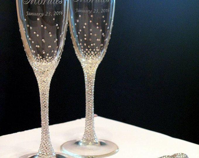 Cristalinas flautas de boda de diamantes de imitación conjunto, flautas de champán y para pastel, Swarovski Crystals, lujo tradicionales, champán gafas, 4pcs