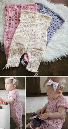 Free Knitting Pattern for Aurora Baby Romper - Lace romper currently in size 9-12 months, though the designer is working on more sizes. This MAY be only free for a limited time. Designed by Gynka Knitwear. DK weight.