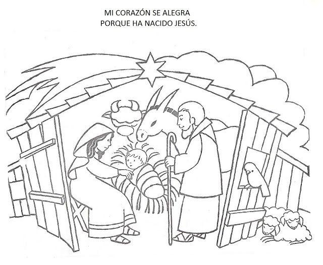 kleurplaat kerstfeest / DIBUJOS_NAVIDE_OS_PARA_COLOREAR_PESEBRE_
