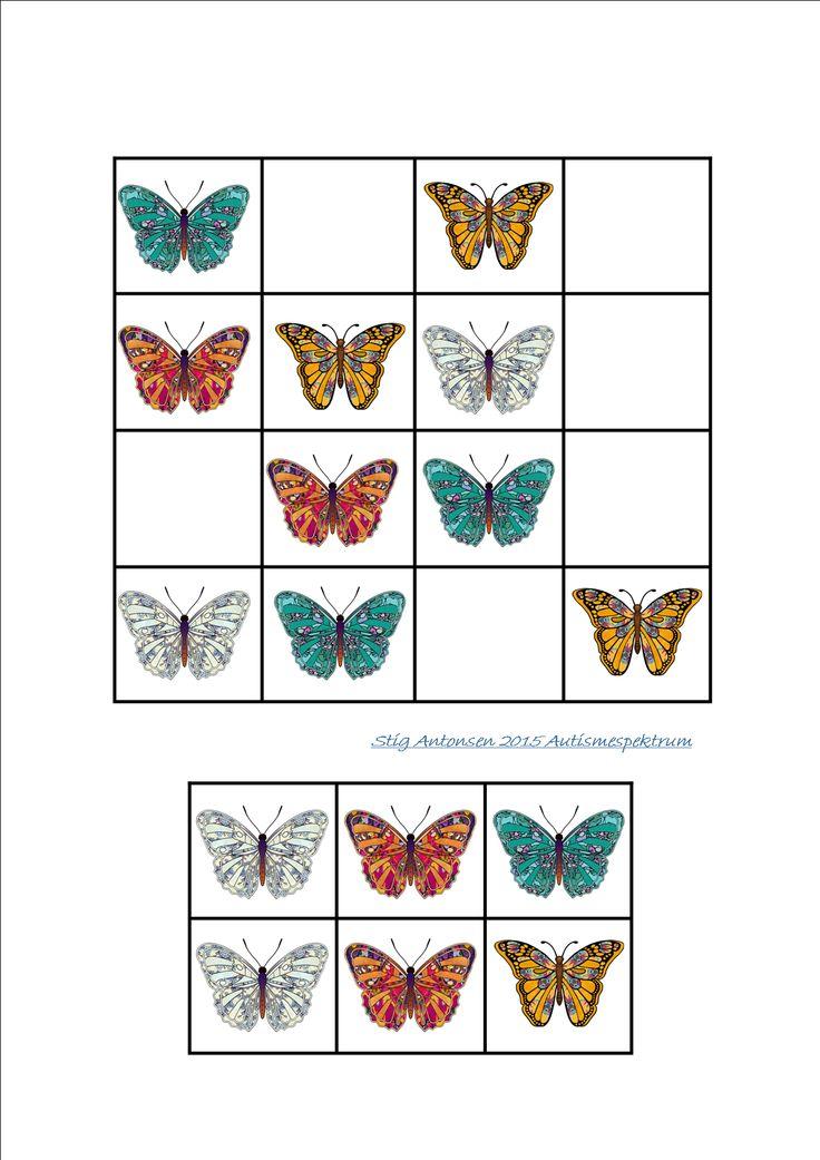 Simple sudoku butterflies - cut and paste.  By Autismespektrum