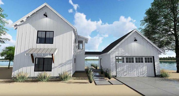 Plan 62650dj Modern Farmhouse Plan With 2 Beds And Semi Detached Garage Modern Farmhouse