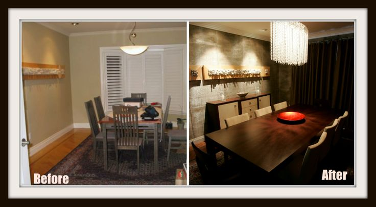 #Diningroom before and after. Bland and boring before, drama and texture after. RenovationBootcamp.com