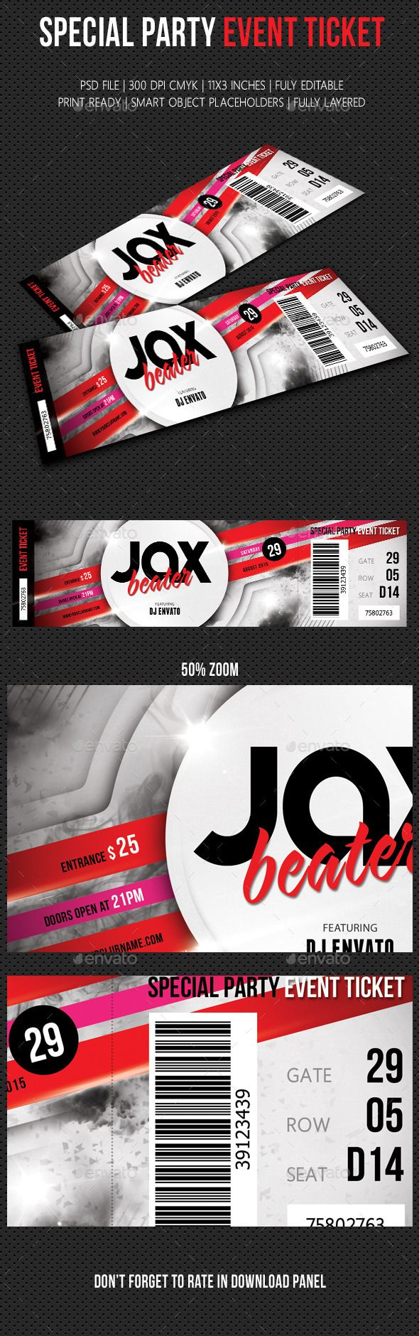 Special Party Event Ticket Template #design Download: http://graphicriver.net/item/special-party-event-ticket-v04/12426783?ref=ksioks