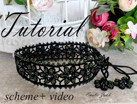 Choker black tutorial.Pattern  crochet necklace choker.Video+ PDF file containing instructions for making the crochet necklace
