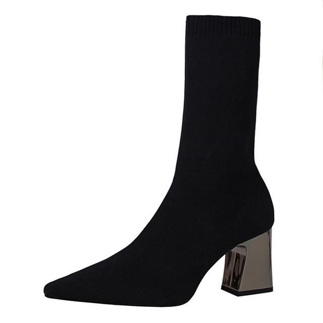 1129e035ae336 Buy Women Stretch Fabric Sock Boots Pointed Toe Elastic High Boots Slip On  High Heel Ankle