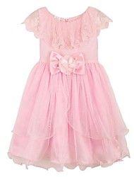 Mode für Mädchen rosa Blume Tüll Partei Festzug Hochzeit Prinzessin Kinder Kleidung Prinzessin Kleider
