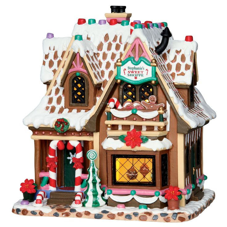 """A Lemax Exclusive """"Stephanie's Sweet Shoppe"""" SKU# 65153, is a new 2016 porcelain Lighted Building made exclusively for Michaels."""