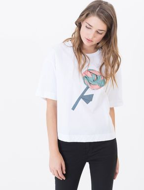 Embroidered jersey and fabric T-shirt