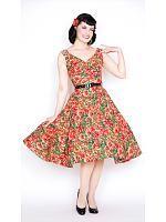 Saturday Night Pinup Dress, Rød/grønn