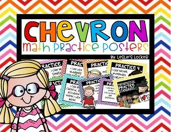 Chevron Math Practice Posters by Leslie's Locker | TpT