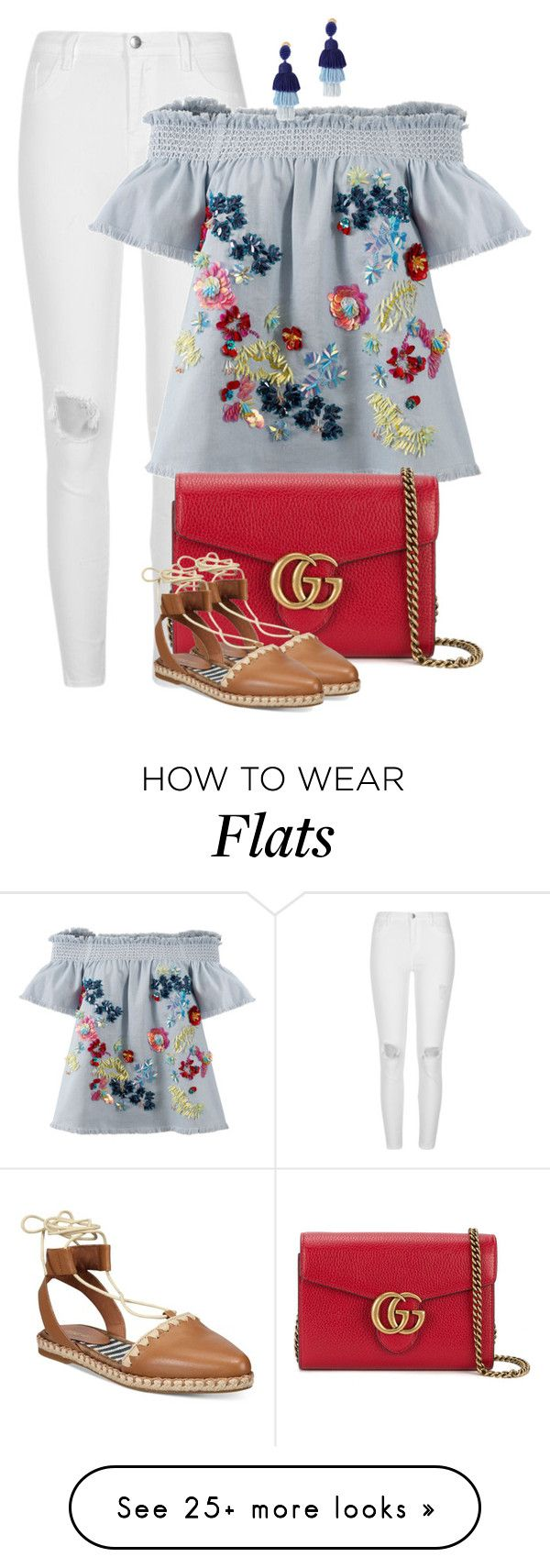 """Casual"" by ashley-loves on Polyvore featuring River Island, Tanya Taylor, Gucci, Nine West and Oscar de la Renta"