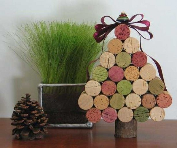 mini kerstboom van kurken