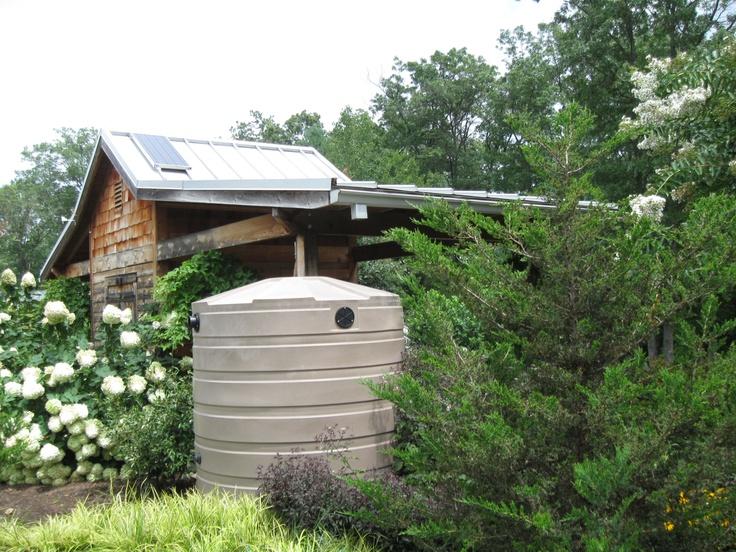 Green gardener's shedpv solar panels and cistern Solar